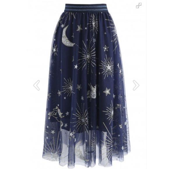189d05b33d8 Stars Mesh Tulle Midi Skirt in Navy